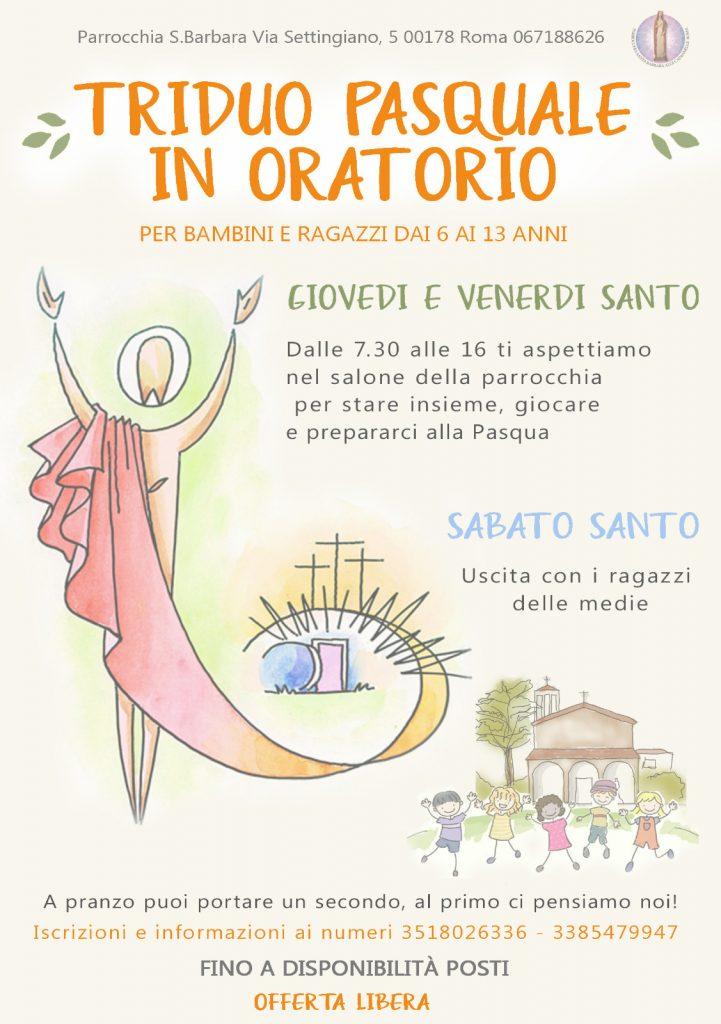Locandina triduo pasquale in oratorio
